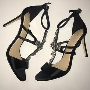 Jewel Badgley Mischka Black and Jeweled Heels
